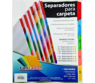 SEPARADORES LAFICA 5 POS.  S/NUMERO CEJA DE COLOR