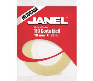CINTA ADHESIVA JANEL 119 CORTE FACIL 18MM X 33M.