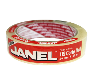 CINTA ADHESIVA JANEL 119 CORTE FACIL DE 24MM X 65M.