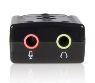 ADAPTADOR / CONVERTIDOR USB A AUDIFONO Y MICROFONO.