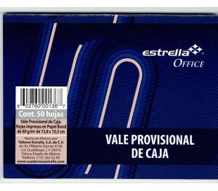 BLOCK DE NOTAS DE VALE PROVICONAL DE CAJA ESTRELLA CON 50 HJS