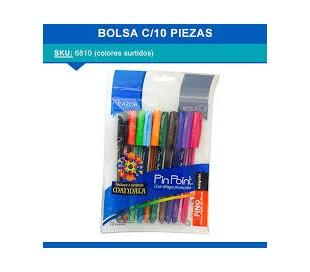 PLUMAS DE COLORES PIN POINT CON 10 PZS MOD. 6810